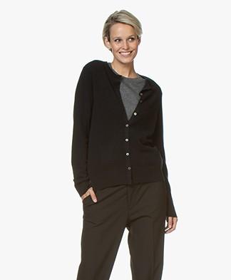 Repeat Luxury Cashmere Short Cardigan - Black