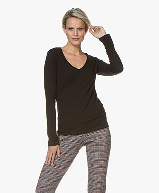 Majestic Filatures Carole Cashmere Blend Long Sleeve - Black