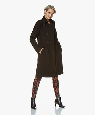 Drykorn Buckey Knee-length Wool Blend Coat - Black