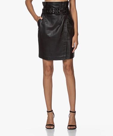 ba&sh Fidji Belter Leather Skirt - Black