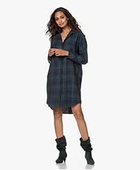 by-bar Checkered Cotton Blend Shirt Dress - Hill Green