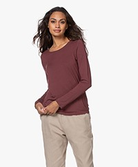 Repeat Stretch-Viscose Jersey Long Sleeve - Burgundy