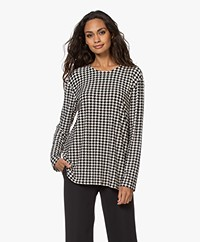 Norma Kamali Boyfriend Houndstooth Long Sleeve - Black/Off-white