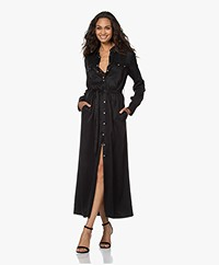Denham Greenside Cupro Blend Maxi Shirt Dress - Black