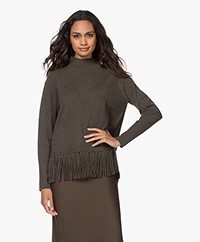 Repeat Wool and Cashmere Fringe Sweater - Khaki
