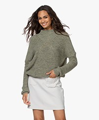 indi & cold Pointelle Knitted Funnelneck Sweater - Khaki