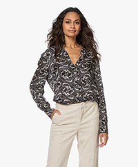 ba&sh Soko Silk Blend Jacquard Print Blouse - Black