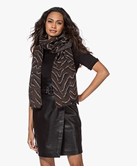Repeat Jacquard Knitted Scarf - Brown