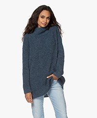 no man's land Mohair Blend Turtleneck Sweater - Steel Blue