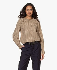 by-bar Gaby Sparkle Striped Blouse - Stone Sand