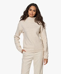 by-bar Moss Funnel Neck Wool Blend Sweater - Oyster