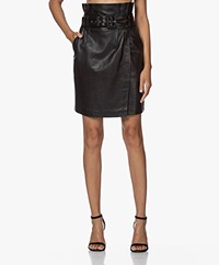 ba&sh Fidji Belter Leather Skirt - Black