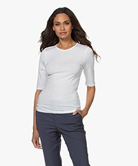 Filippa K Cotton Stretch Elbow Sleeve T-shirt - Wit