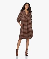 Closed Amber Cotton Flanel Check Shirt Dress - Tawny Brown