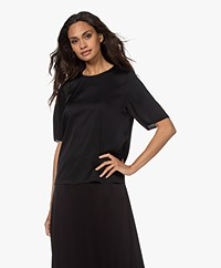 Filippa K Silk Short Sleeve Blouse - Black