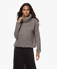 LaSalle Chunky Knitted Mohair Mix Sweater - Chestnut