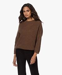 by-bar Milou Susi Fisherman's Rib Sweater - Cognac Melange