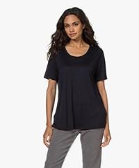 HANRO Balance Lyocell Ronde Hals T-shirt - Zwart