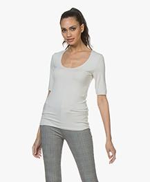 Majestic Filatures Halflange Mouwen T-shirt - Greige