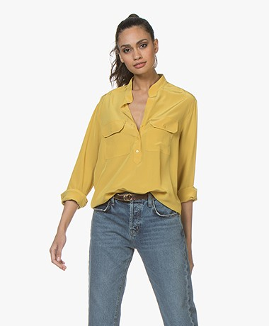 Vanessa Bruno Lauren Silk Crepe Blouse - Ochre Yellow