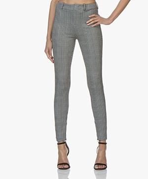 Drykorn Winch Geruite Skinny Pantalon - Zwart/Off-white