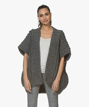 I Love Mr Mittens Fisherman Open Vest met Korte Mouwen - Charcoal