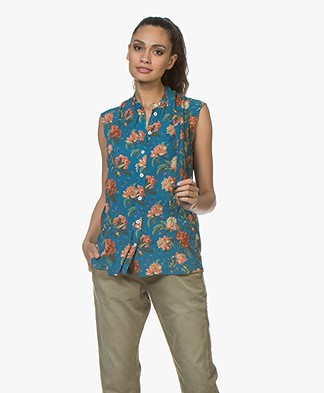 Drykorn Gessi Sleeveless Blouse with Flower Print - Petrol Blue