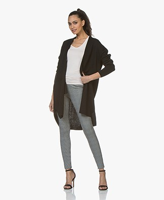 Sibin/Linnebjerg Line Open Cardigan in Merino Wool Blend - Black