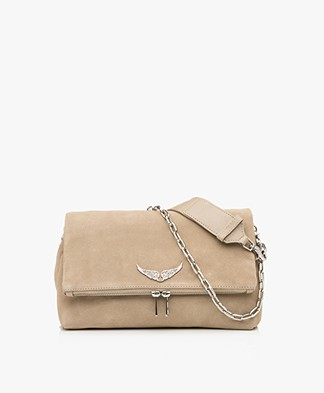 Zadig & Voltaire Rocky Suede Cross-body/Shoulder Bag - Beige