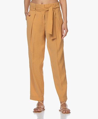 forte_forte Sand Washed Modalmix Paperbag Broek - Safari