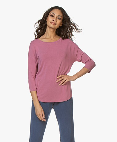 Majestic Filatures Boatneck 3/4 Sleeve T-shirt - Pink