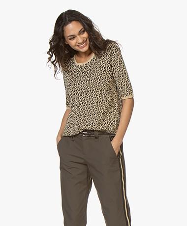 Sibin/Linnebjerg Naomi Jacquard Short Sleeve Sweater - Leopard