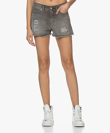 Zadig & Voltaire Storm Destroyed Denim Short - Grijs