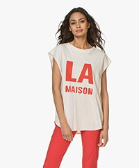American Vintage Rompool LA Print Muscle T-shirt - Vintage Nougat