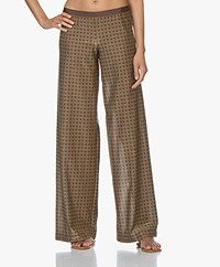 SIYU Eclipse Printed Jersey Wide-leg Pants - Brown/Blue