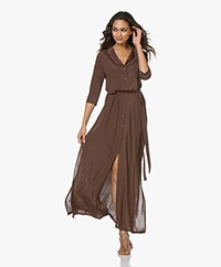 SIYU Kados Tech Jersey Maxi Button-down Dress - Brown/Blue