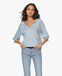 Josephine & Co Blom Linen Splitneck T-shirt - Light Blue