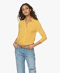 Majestic Filatures Jersey Blouse with Cropped Sleeves - Yellow