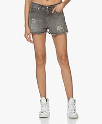 Zadig & Voltaire Storm Destroyed Denim Shorts - Grey