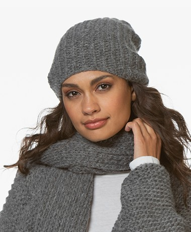 Sibin/Linnebjerg December Alpaca Blend Rib Hat - Dark Grey Melange