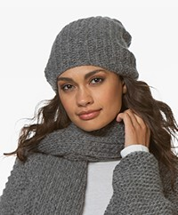 Sibin/Linnebjerg December Alpaca Blend Rib Hat - Dark Grey Melange