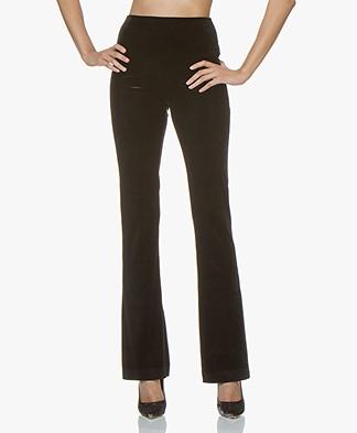 Norma Kamali Velvet Jersey Boot Pant - Black