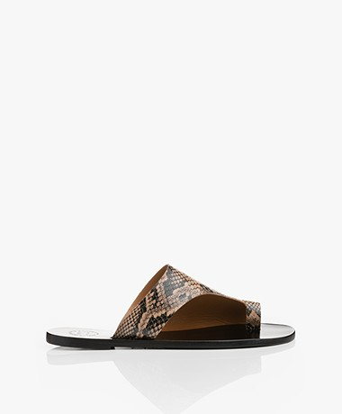 ATP Atelier Rosa Leather Snake Print Sandals - Brown