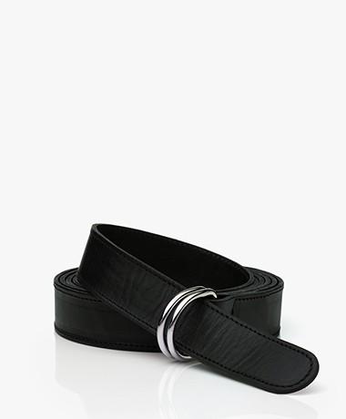 LaSalle Leather D-ring Wrap-around Belt - Black