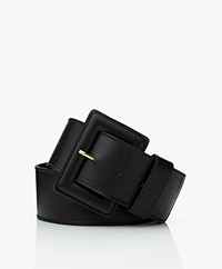LaSalle Large Leather Waist Belt - Black