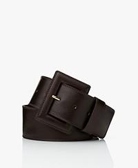 LaSalle Large Leather Waist Belt - Choco
