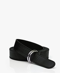 LaSalle Leather D-ring Wrap-around Belt - Black