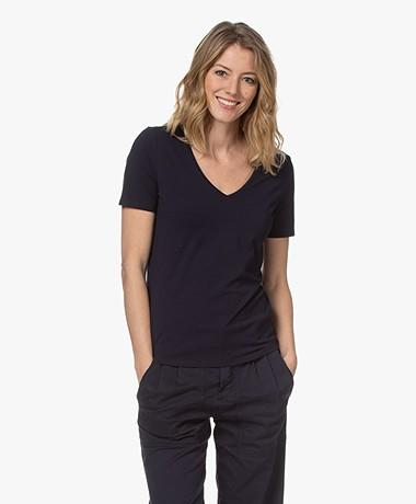 Repeat Stretch Cotton V-neck T-shirt - Navy