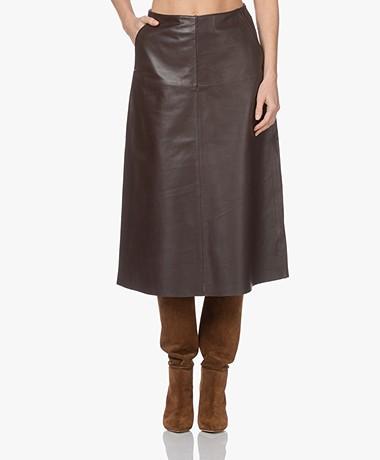 LaSalle Leather A-line Midi Skirt - Choco