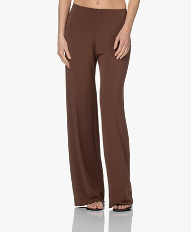 no man's land Crepe Jersey Pants with Wide Legs - Brown